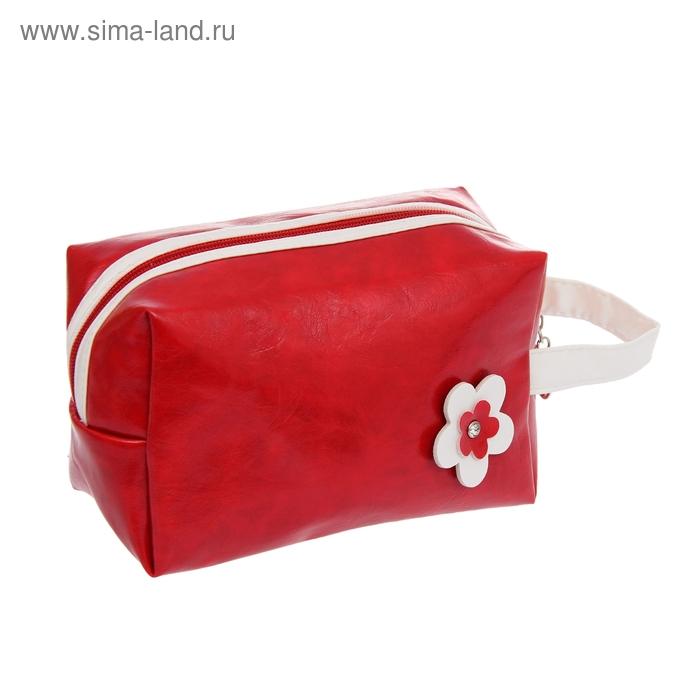 """Косметичка-ассорти """"Цветик"""", 1 отдел, ручка, цвет красный"""