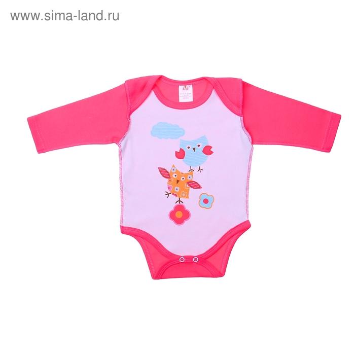 """Боди для девочки """"Весна"""", интерлок, рост 62 см, цвет розовый/белый"""