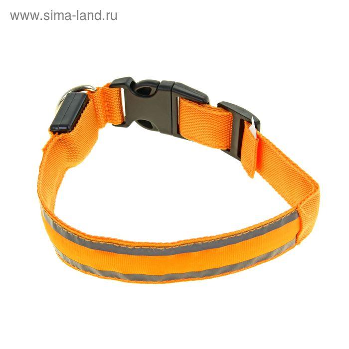 Ошейник с подсветкой и 2 светоотражающими полосами, 40-45 см, 3 режима свечения, оранжевый