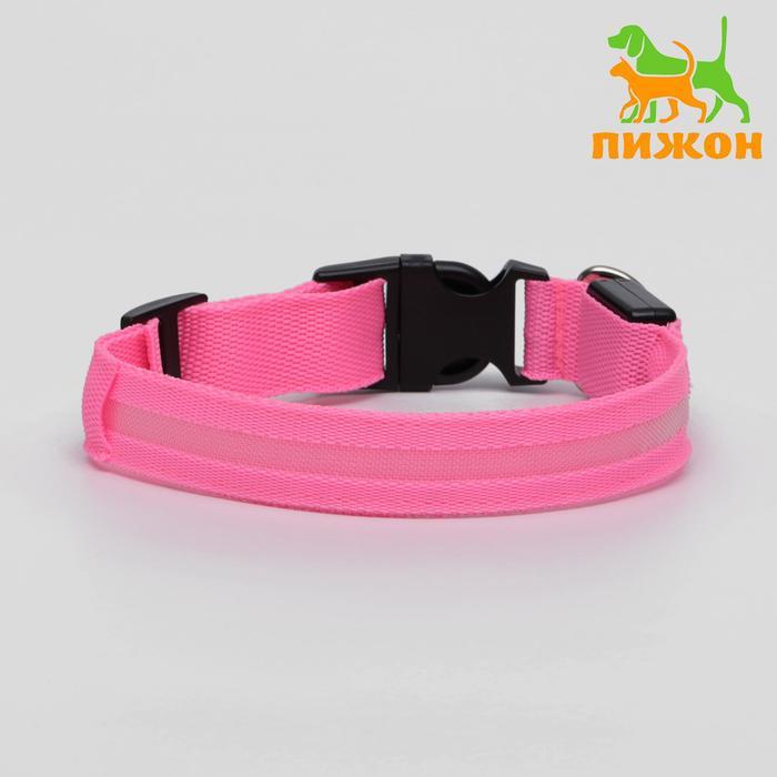 Ошейник с подсветкой, 40-45 см, 3 режима свечения, розовый