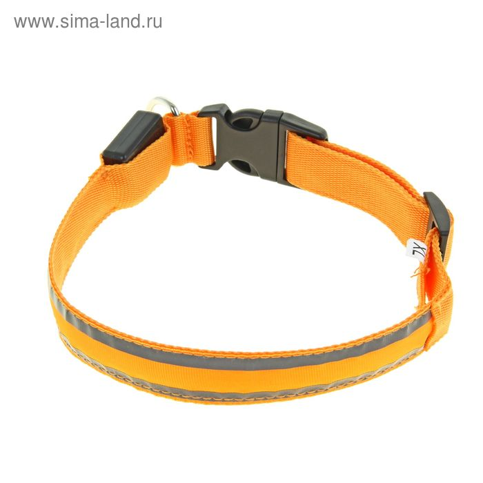 Ошейник с подсветкой и 2 светоотражающими полосами, 50-58 см, 3 режима свечения, оранжевый