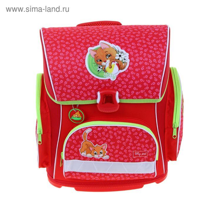 Ранец на замке Hatber 37*30*17 Optimum, эргономичная спинка, для девочки KITTEN, красный