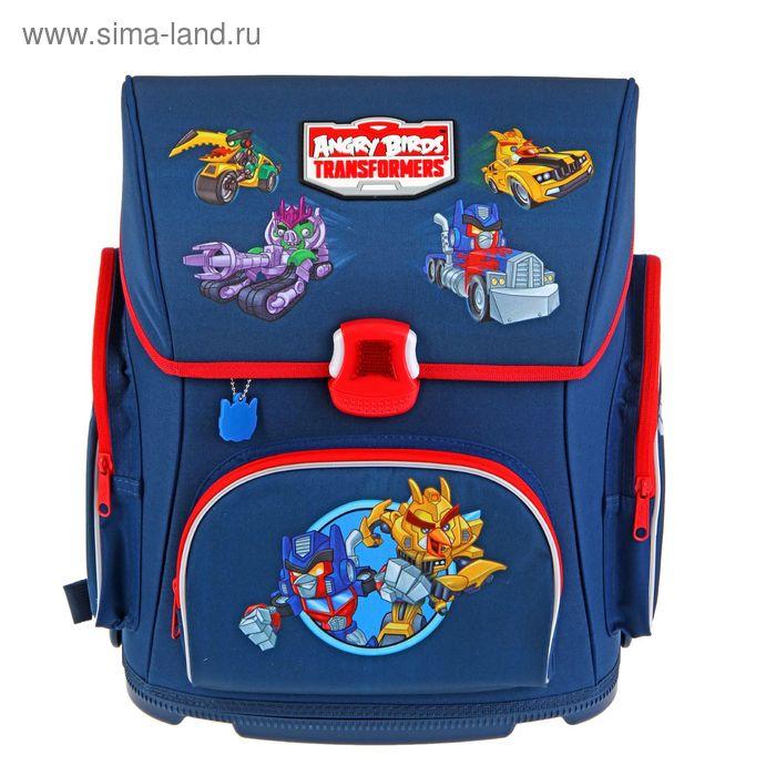 Ранец на замке Hatber 37*30*17 Optimum, эргономичная спинка, для мальчика Angry Birds раскладной, синий