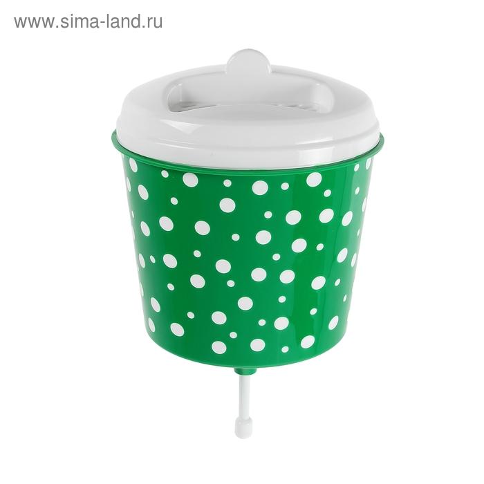 """Умывальник-рукомойник 3 л """"Горошек"""", цвет бело-зеленый"""