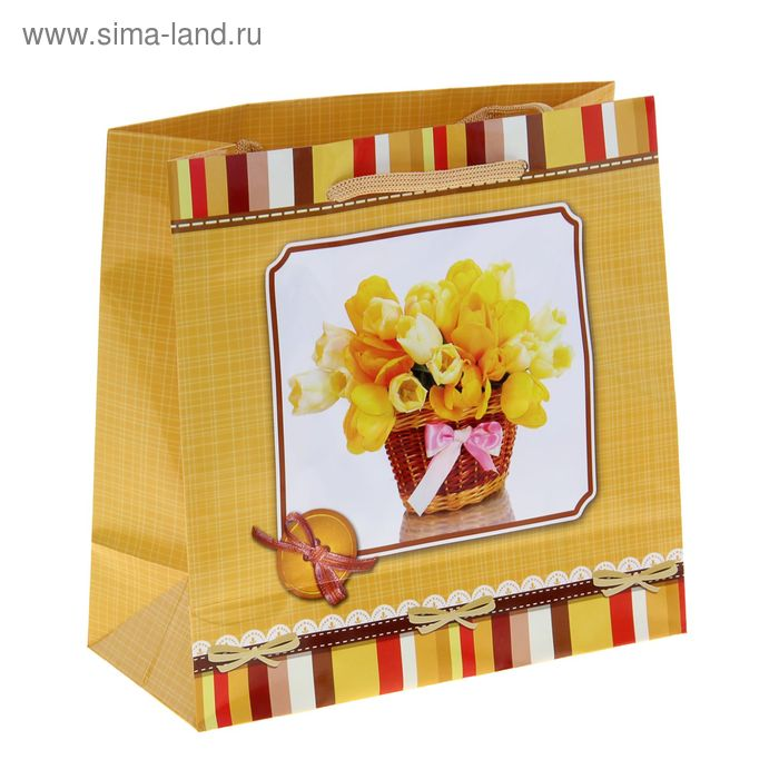 "Пакет подарочный ""Цветочная корзинка"" 23х22,5х10 см"
