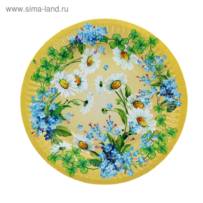 """Тарелка с ламинацией """"Полевые цветы"""", 18 см"""