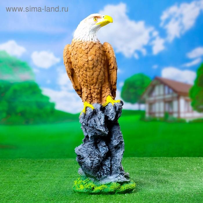 """Садовая фигура """"Орёл на пне"""" большая, коричневая"""