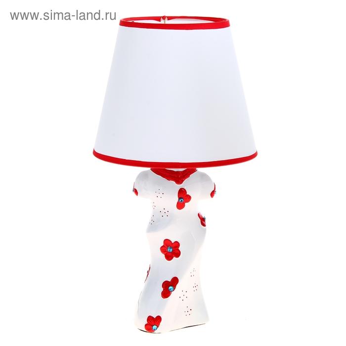 """Лампа настольная """"Платье с краснымим цветочками"""""""
