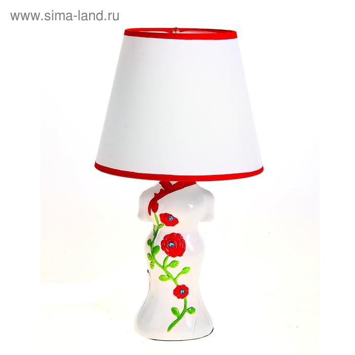 """Лампа настольная """"Кимоно с красными цветами"""""""
