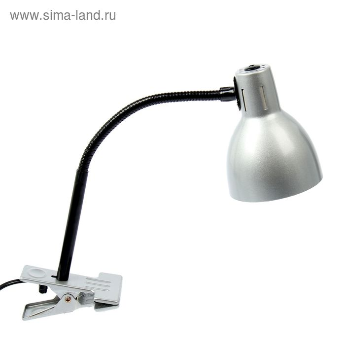 Лампа настольная на зажиме Metallic gray серая, h=55 см
