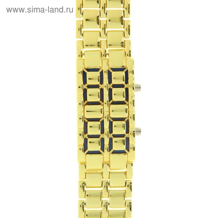 Часы мужские бинарные, золотистый циферблат, золотистый браслет, синий
