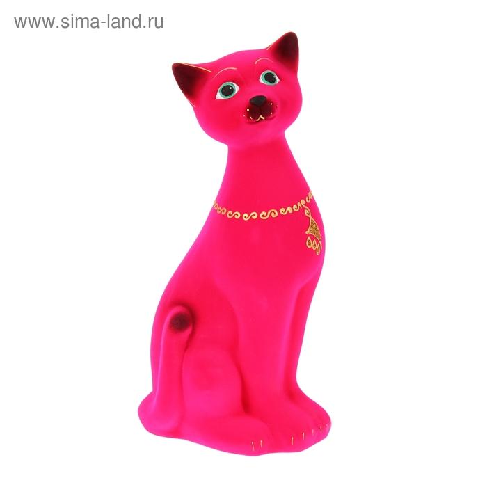 """Копилка """"Кот Яша"""" большая, флок, розовая"""