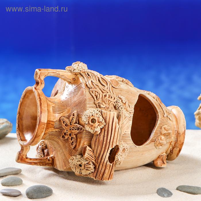 """Декорации для аквариума """"Амфора с морской звездой"""" большая"""