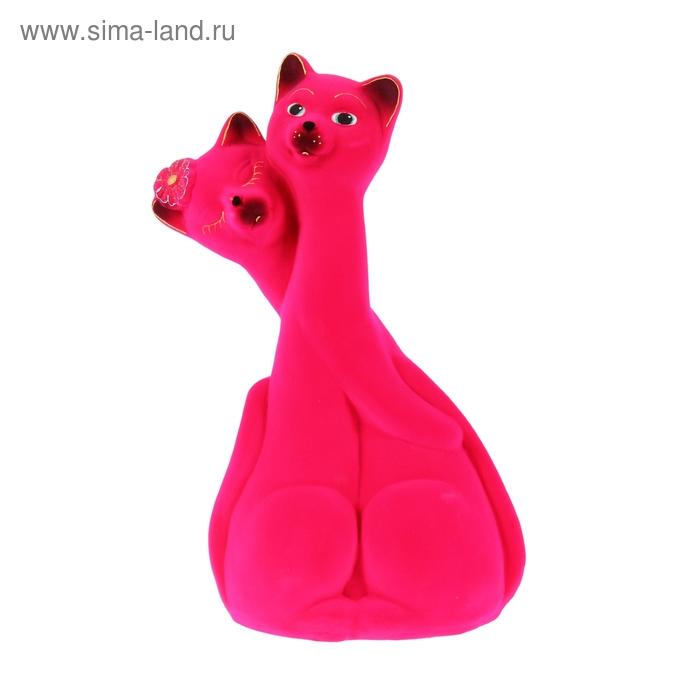 """Копилка """"Коты"""" пара, флок, розовая"""