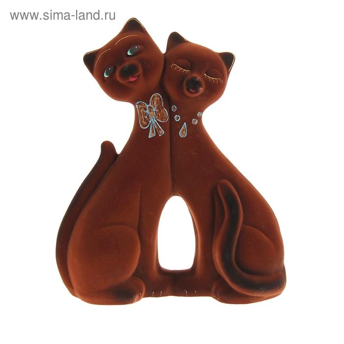 "Копилка ""Коты"" пара, фантазия, флок, коричневая"