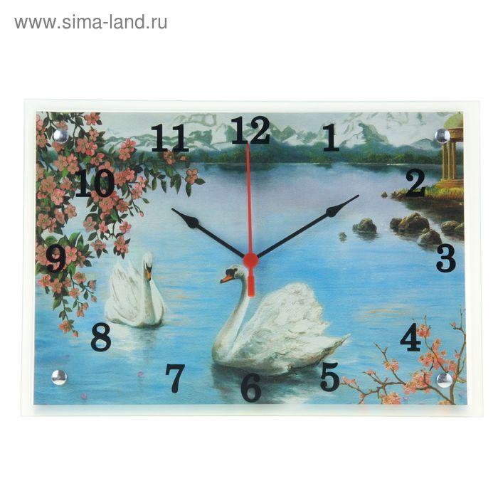 """Часы настенные прямоугольные """"Лебеди"""", 25х35 см  микс"""