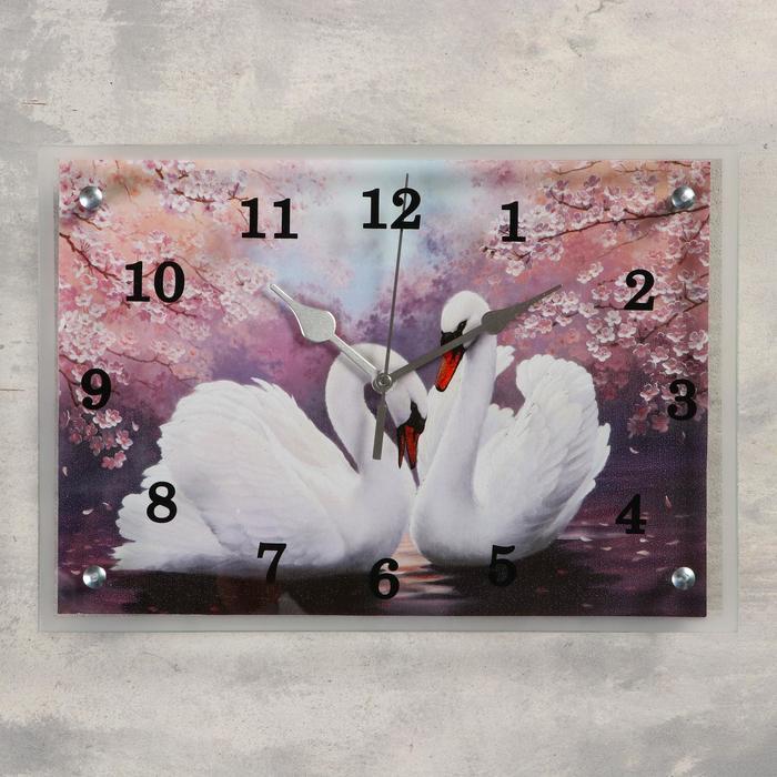 """Часы настенные прямоугольные """"Лебеди"""", 25 х35 см  микс"""