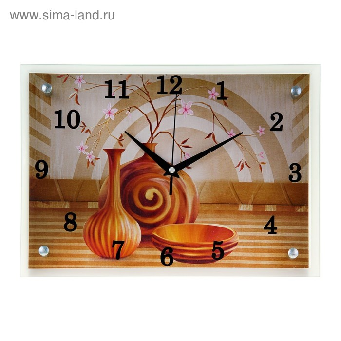 """Часы настенные прямоугольные """"Вазы"""", 25х35 см микс"""