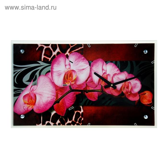 """Часы настенные прямоугольные """"Орхидея розовая"""", 35Х60 см"""