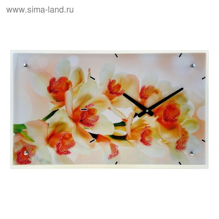 """Часы настенные прямоугольные """"Цветы"""", 35х60 см"""