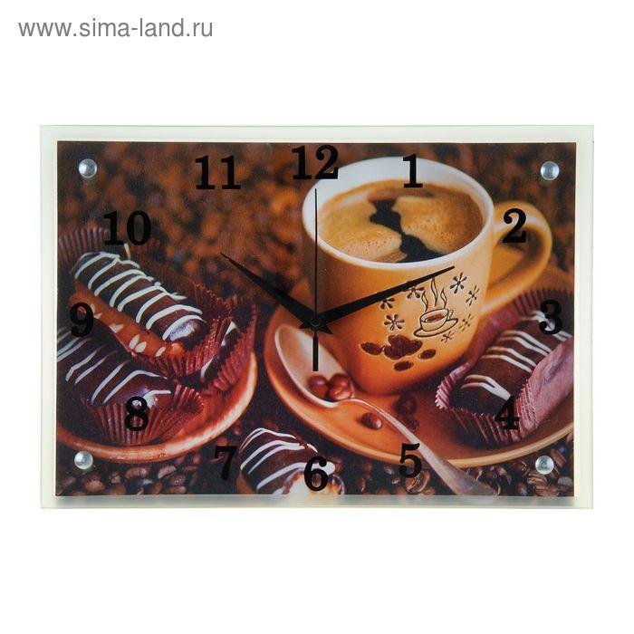 """Часы настенные прямоугольные """"Кофе с пироженным"""", 25х35 см микс"""