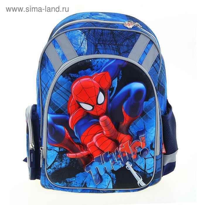 Рюкзак школьный эргономичная спинка Disney Spiderman 38*29*13 для мальчика, синий
