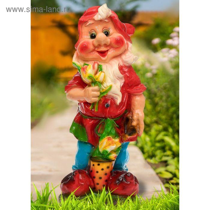 """Садовая фигура """"Гном с цветами"""" большая"""