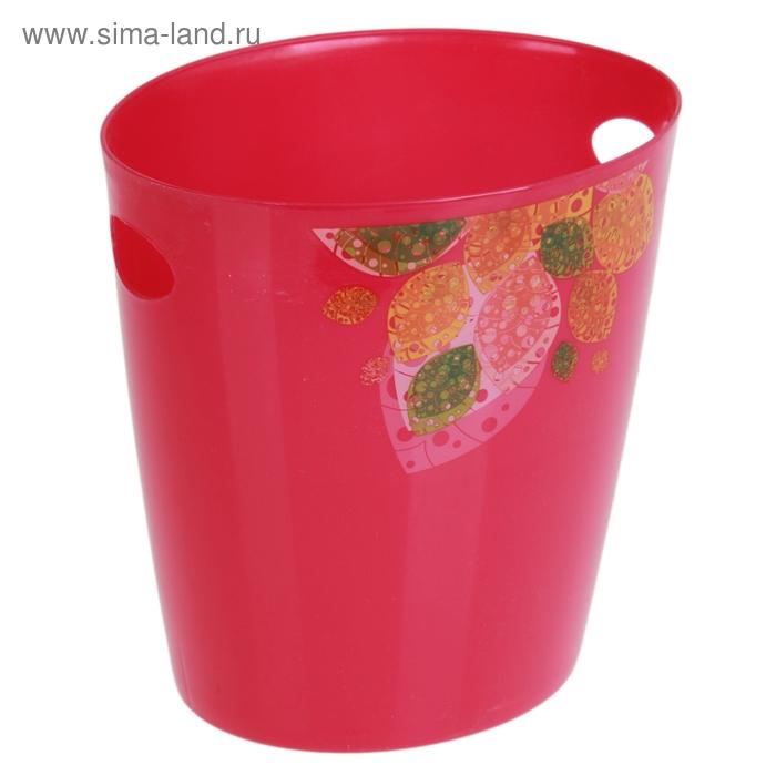 "Ведро для мусора 22*16*22 см ""Листья"", цвета МИКС"