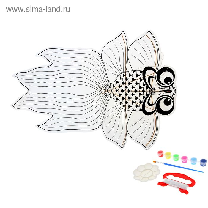 """Воздушный змей-раскраска """"Рыбка"""", краски 6 цветов по 6 мл, кисточка, веревка 5 м"""