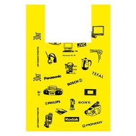 "Пакет ""Электроника"" желтый, полиэтиленовый майка, 40х63 см, 20 мкм"