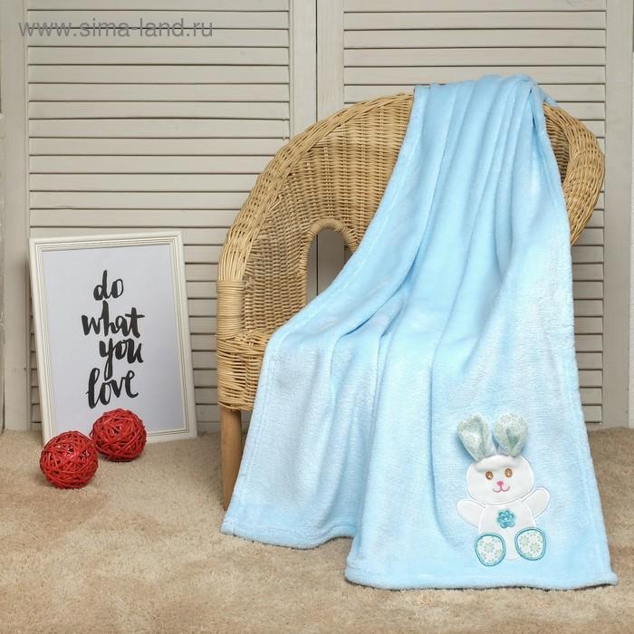 """Плед для новорождённых """"Этелька"""" Зайка блю, размер 75х100 см"""