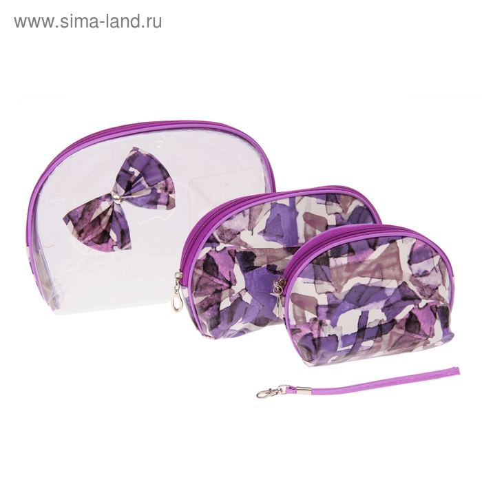 """Набор косметичек 3в1 """"Абстракция"""", 1 отдел, цвет фиолетовый"""