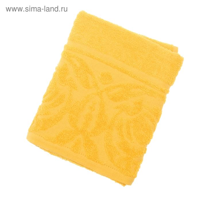 Полотенце махровое Цветок 50х90 см, цв 1110 желтый, хл.100% 300 гр/м