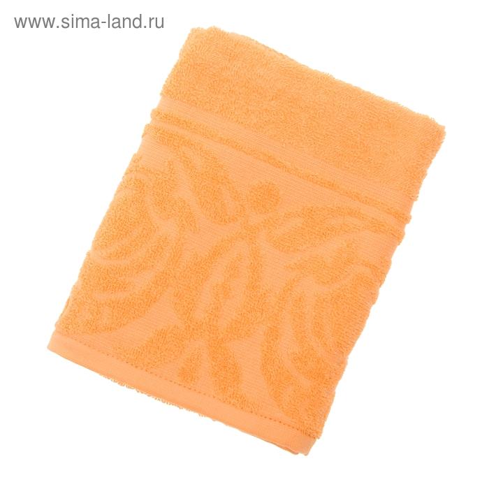 "Полотенце махровое ""Цветок"", размер 50х90 см, 300 гр/м2, цвет оранжевый"
