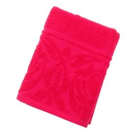 "Полотенце махровое ""Цветок"", размер 50х90 см, 300 гр/м2, цвет малина"