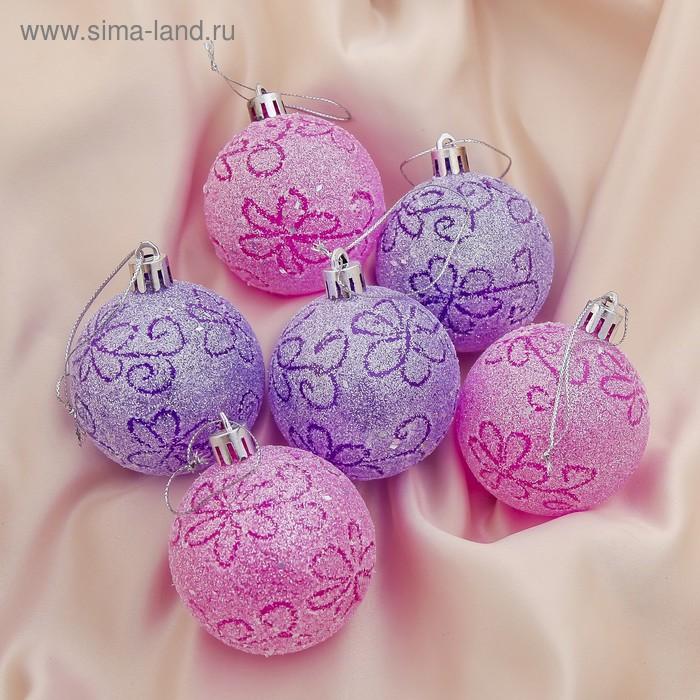 """Новогодние шары """"Волшебство"""" цветочки (набор 6 шт.)"""