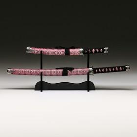 Сувенирное оружие «Катаны на подставке», бордовые ножны под змеиную кожу, 47/71 см Ош