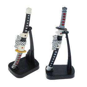Сувенирное оружие «Катана на подставке», чёрные ножны с белыми ромбиками, микс, 16 см Ош