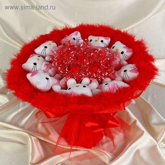"""Букет из игрушек """"Забавные кошечки"""" красный"""