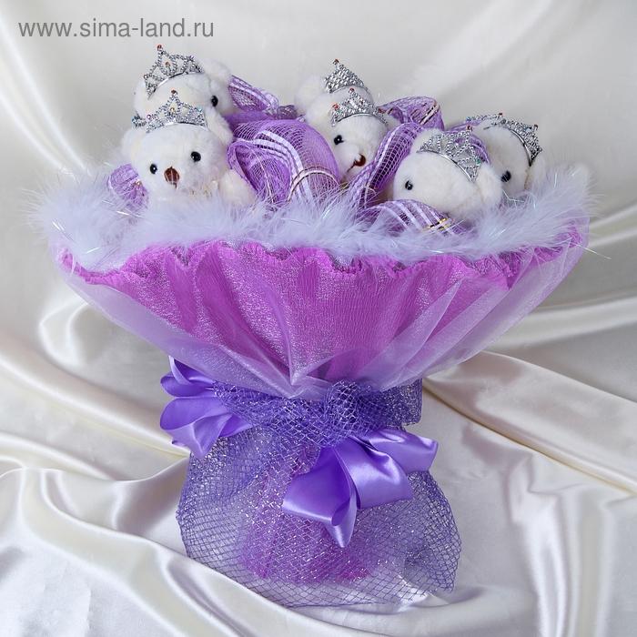 """Букет из игрушек """"Единственной"""" фиолетовый"""