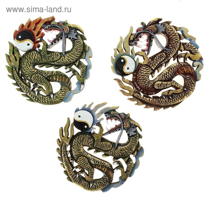 """Панно """"Дракон с символом Инь-Ян"""" цветной МИКС"""