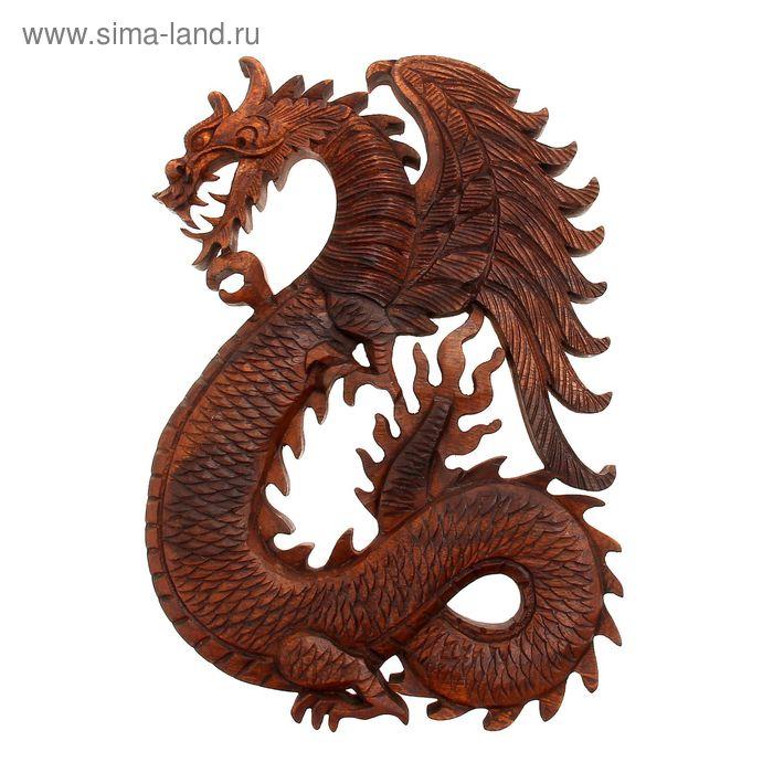 """Панно декоративное """"Дракон"""" коричневый цвет 30х20х2 см"""