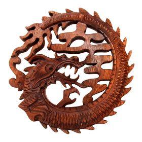 """Панно декоративное """"Дракон"""" коричневый цвет 20х20х2 см"""