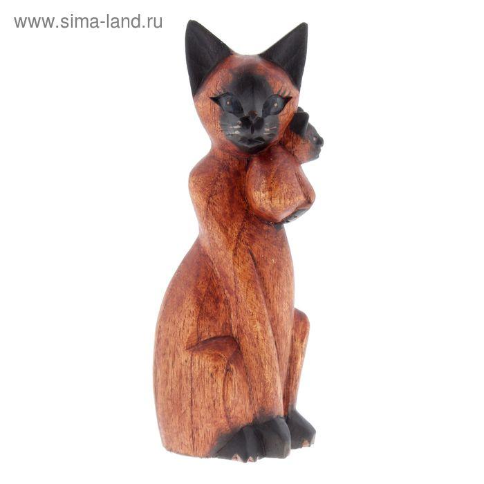 """Сувенир """"Кот Сиам с котенком"""" коричневый"""