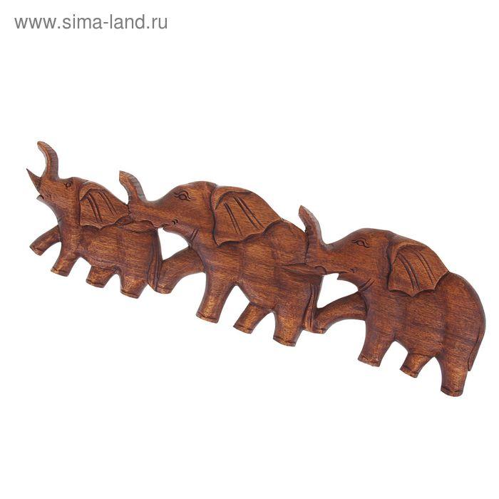 """Панно декоративное """"Слоны"""" коричневое"""