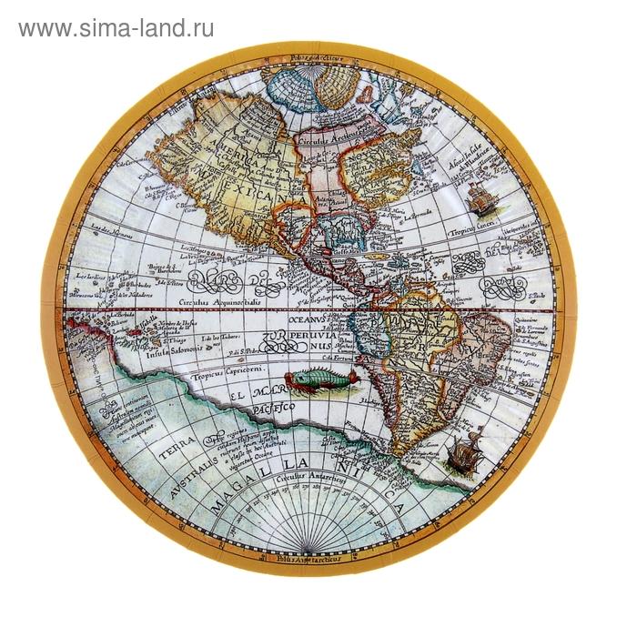 """Тарелка с ламинацией """"Карта"""", 18 см"""