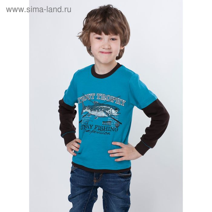 """Джемпер для мальчика """"Рыбалка"""", рост 122 см (62), цвет морская волна ПДД213067"""