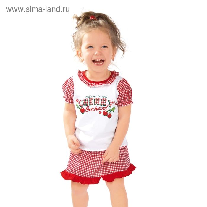 """Платье для девочки """"Вишенка"""", рост 80 см (50), цвет красная клетка ДПК216001н"""