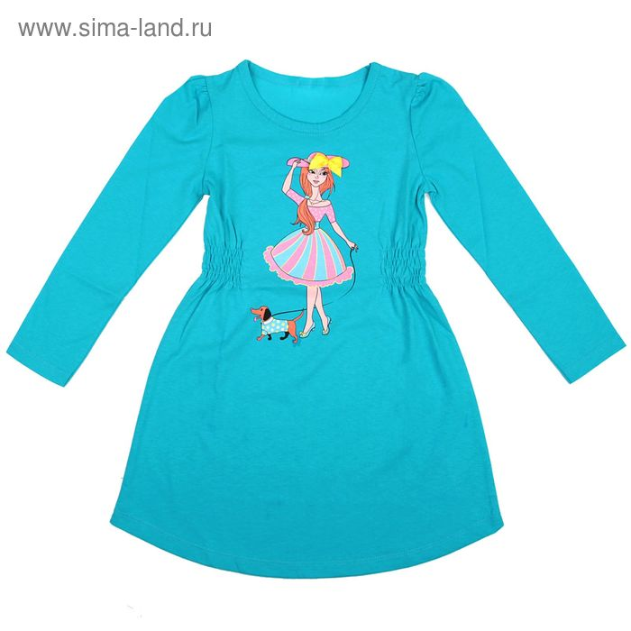Платье для девочки длинный рукав, рост 110-116, цвет голубой AZ-740