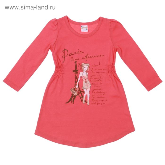 Платье для девочки с длинным рукавом, рост 110-116 см, цвет коралловый, принт МИКС (арт. AZ-740)